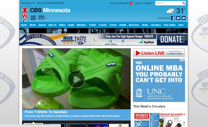 WCCO CBS, Bokos Sandals